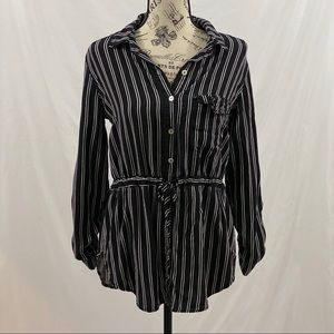 Just Me Button Down Blouse Stripped Size XSmall